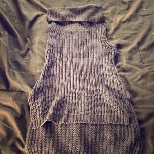 Pullover knit pancho
